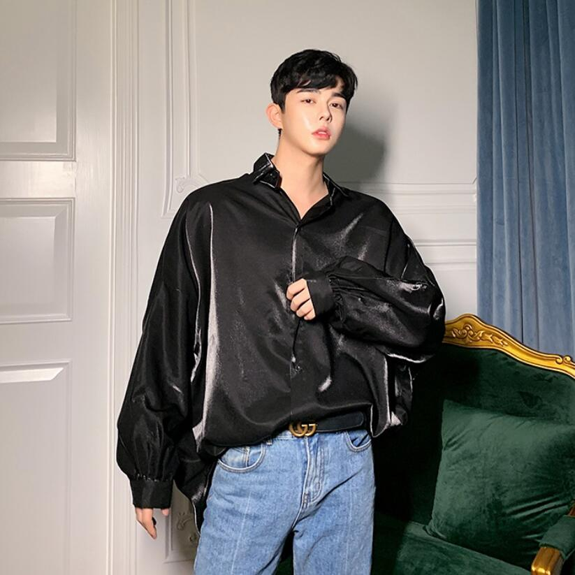 Осенняя Модная шелковая мужская рубашка с длинными рукавами винтажная негабаритная Блузка мужская хип хоп готическое панк блестящее платье рубашкиПовседневные рубашки   -