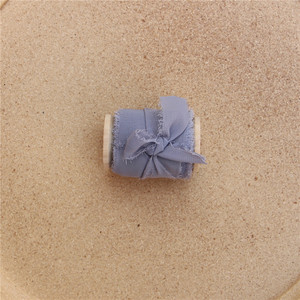 Image 5 - 3 pcs בעבודת יד בלוי קצוץ שיפון משי סרט עם עץ סליל Flatlay אבזר Sheer שוליים סרט עבור הזמנה לחתונה זרי