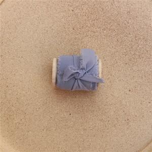 Image 5 - Cinta de seda de gasa con borde deshilachado hecha a mano, 3 uds., de madera con carrete, accesorio de Flatlay, cinta de flecos transparente para ramos de invitación de boda