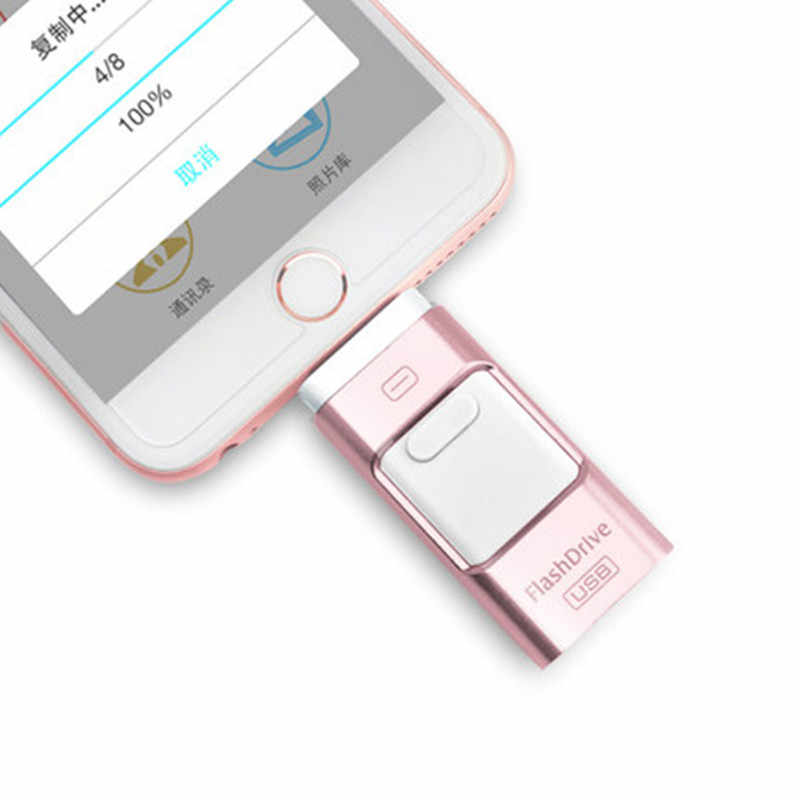 Usb Flash Drive For iPhone 6/6s/6Plus/7/7Plus/8/X Usb/Otg/ipad 3 in 1 Pen Drive For iOS External Storage Devices usb 3.0