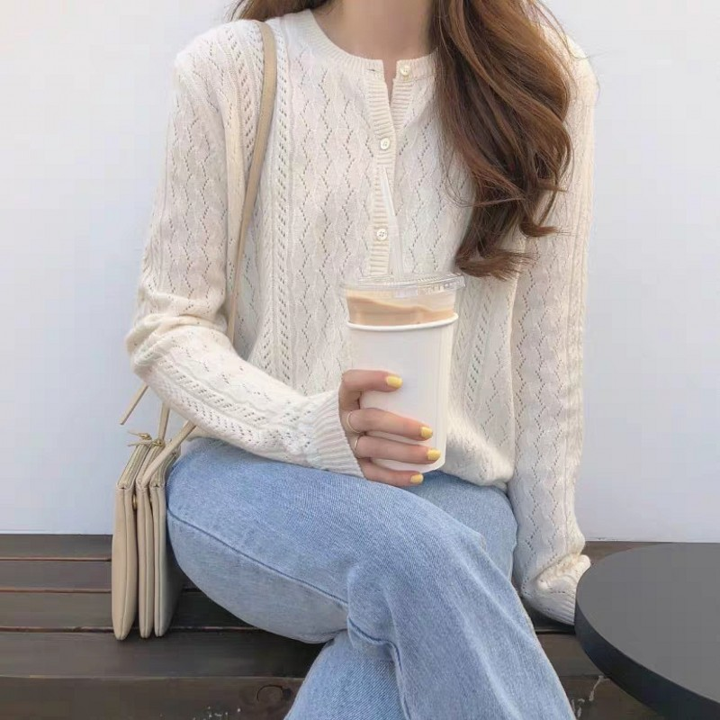 BELIARST 2019 Spring And Autumn New Ice Silk Cardigan Women's Round Neck Sweater Loose Hollow Knit Bottom Coat Sweater