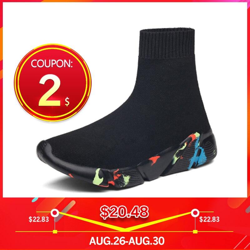 Sneakers Women Shoes Sock Short-Boots Platform Comfort Flat-Knitting Breath Female Autumn