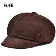 лучшая цена Pudi man real leather cap hat 2019 fashiong boys Cabbie Hats newsboy caps HL913
