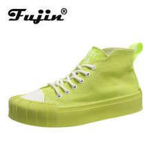 Fujin Women Canvas Shoes Dropshipping 2019 New Candy Color High-Up Thin Biscuit Flats Avocado Green Board Causal
