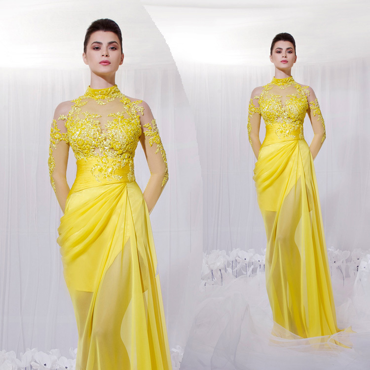 A Line See Through High Neck Long Sleeve Yellow Evening Gowns