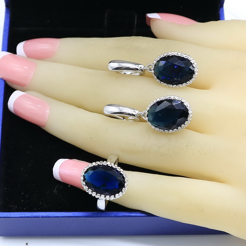 Blue Sapphire Silver 925 Earrings Ring Sets For Women Green Emerald Sky Blue Topaz Bridal Jewelry