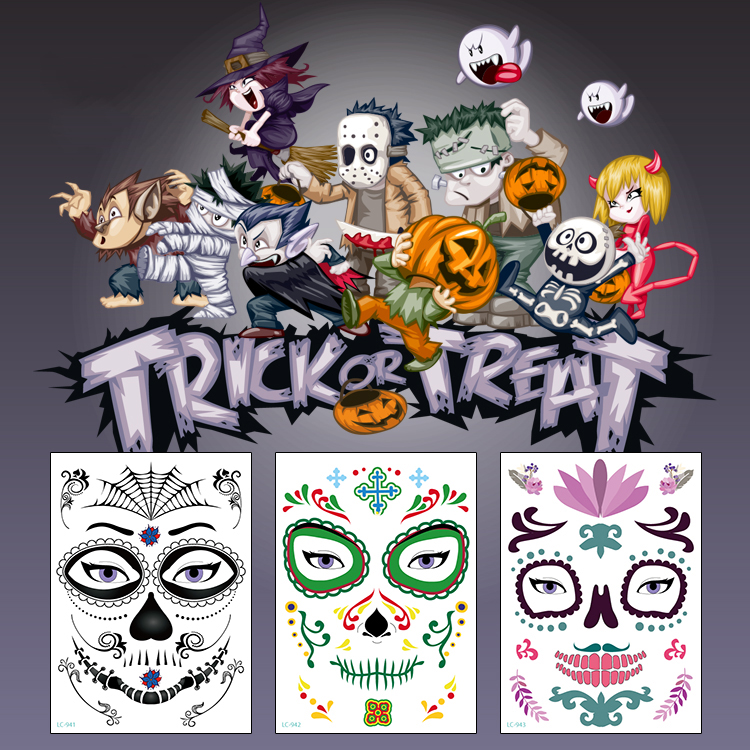 Halloween Eco-friendly Waterproof Decor Props Temporary Tattoo Stickers Face Sticker Atmosphere Masquerade Tattoo Arm Body