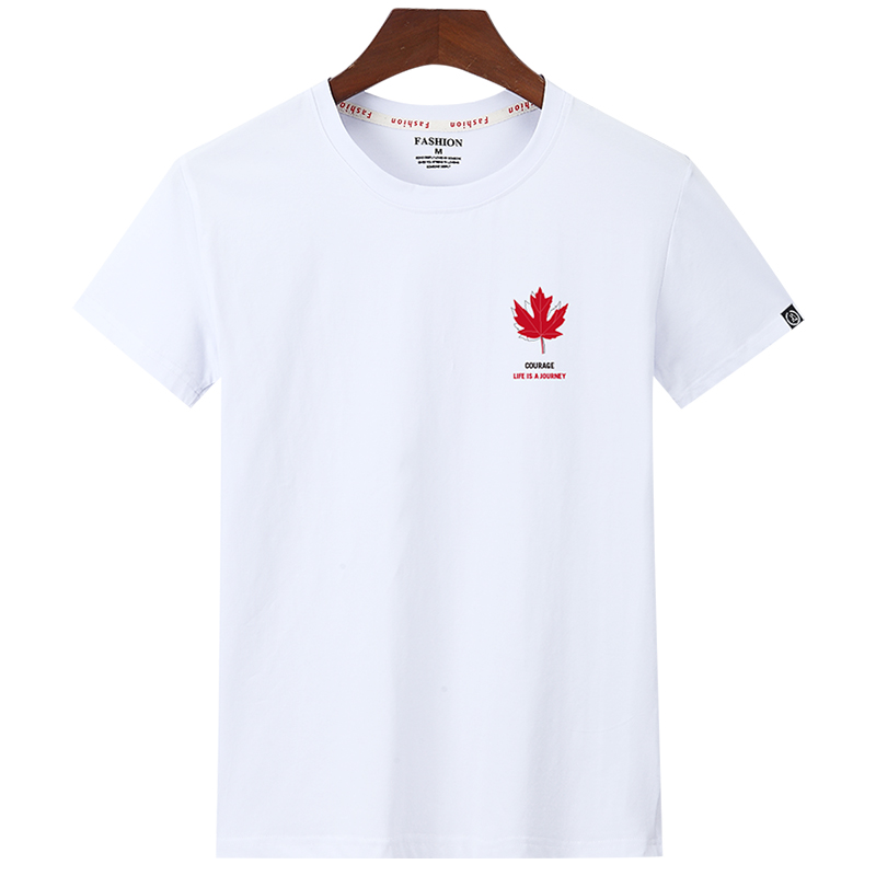 Новинка 2020, Мужская футболка с круглым вырезом и коротким рукавом, модная Мужская хлопковая футболка с принтом кленового листа, мужские пов...