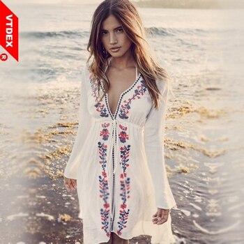 Vestido playero para mujer, Túnica Vintage bordada blanca De mujer, Túnica De mujer, vestido De Bikini estilo Kaftan De verano 2018