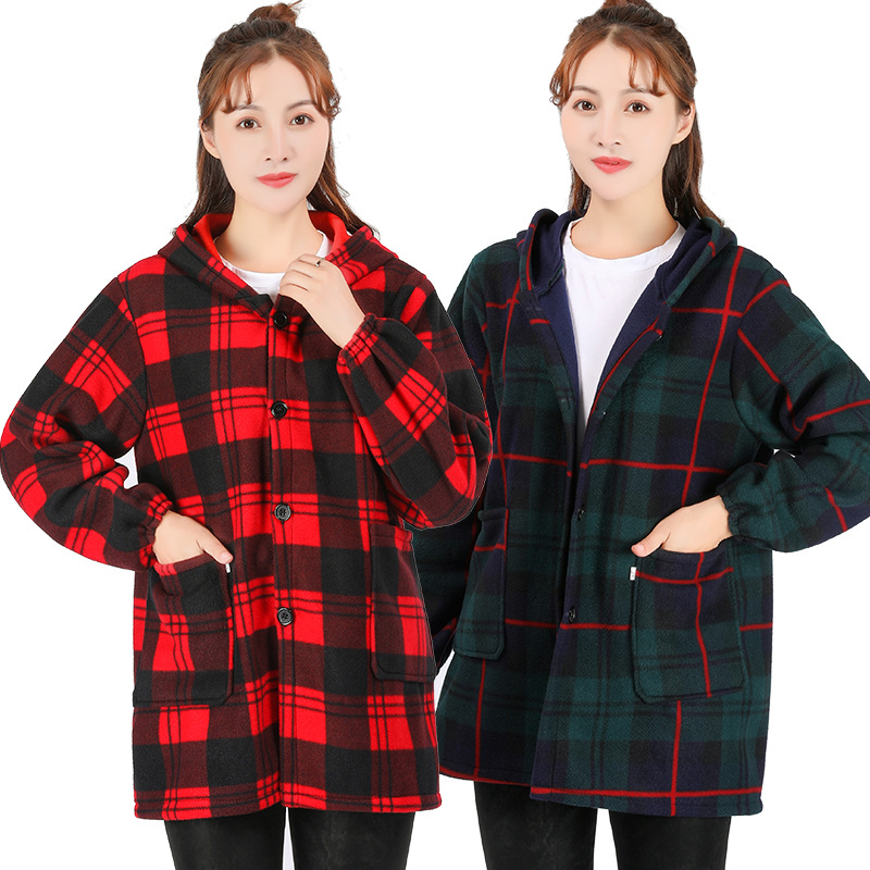 Winter Warm Overclothes Adults Long Sleeve Apron Brushed And Thick Flannel Work Clothes Men's Women's Protective Clothing-Outer