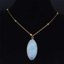 AFAWA Stainless Steel Natural Stone Neckless Women Gold Color Necklaces Pendants Jewelry joyeria acero inoxidable mujer NB14S04