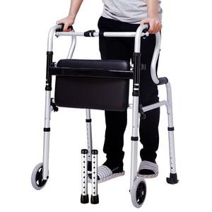 Image 1 - Os idosos desabilitados liga de alumínio dobrável passo ajuda dispositivo de linha para ajudar a implementar muleta haste quatro pés got up auxiliar walke