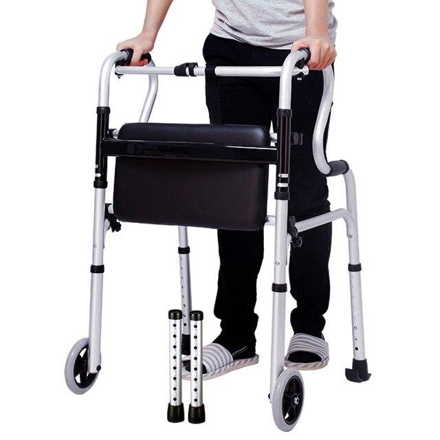 Os idosos desabilitados liga de alumínio dobrável passo ajuda dispositivo de linha para ajudar a implementar muleta haste quatro pés got up auxiliar walke