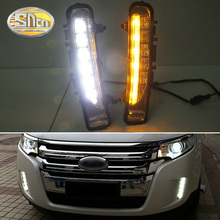 For Ford Edge 2009~2014 Daytime Running Light DRL LED Fog Lamp Cover With Yellow Turning Signal Functions