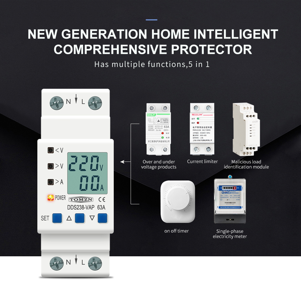 He7026c88289b42ac9568e62950108900L - 63A 80A 110V 230V Din rail adjustable over under voltage protective device current limit protection Voltmeter ammeter Kwh