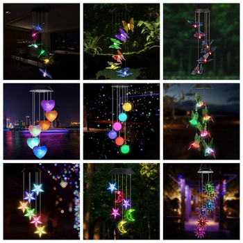 LED Solar Wind Chime Crystal Ball Hummingbird Wind Chime Light Color Changing Waterproof Hanging Solar Light For Home Garden
