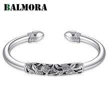 BALMORA リアル 990 ピュアシルバー絶妙なブレスレット腕輪女性の母親のための女性の特別なギフトエレガントなシンプルなファッションbracelet bangle for womenbangles for womenretro bangles