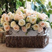 10 cabeça artificial rosa decoração de casamento real toque eucalipto folhas de seda flor decoração de casamento bouquet de noiva