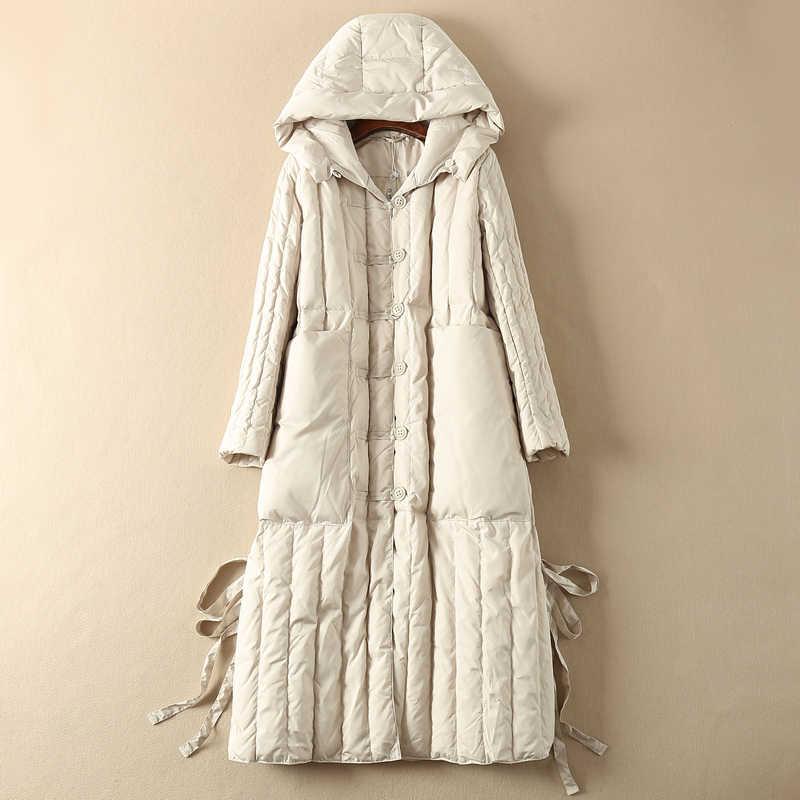 Angsa Jaket Putih Berkerudung Mantel Panjang Musim Gugur Musim Dingin Puffer Wanita Down Jaket Doudoune Femme Hiver KJ4702