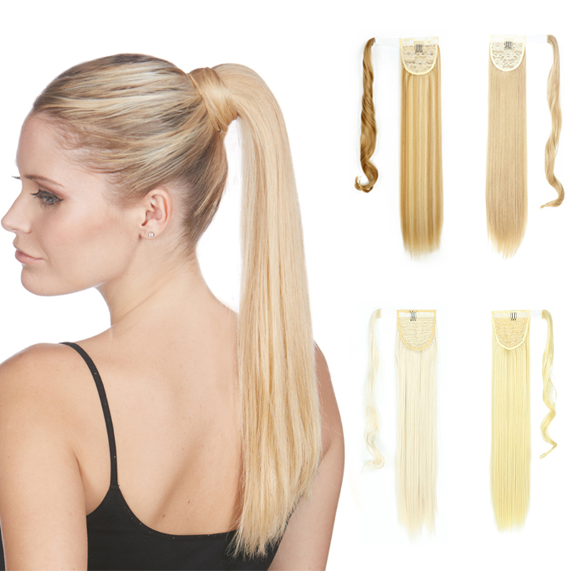 XINRAN Straight Synthetic Clip in Drawstring Ponytail Hairpieces for Women Hair Extension High Temperature Fiber