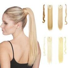 Прямые синтетические шиньоны XINRAN на завязках для конского хвоста для женщин для наращивания волос из высокотемпературного волокна