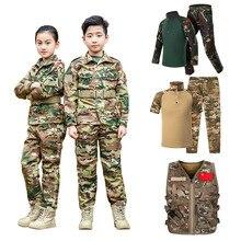 Военная форма WW2 для мальчиков-подростков; тактическая Боевая куртка; комплект со штанами; Камуфляжный комплект с принтом «Джунгли»; комплект из 2 предметов; детский специальный армейский костюм спецназа