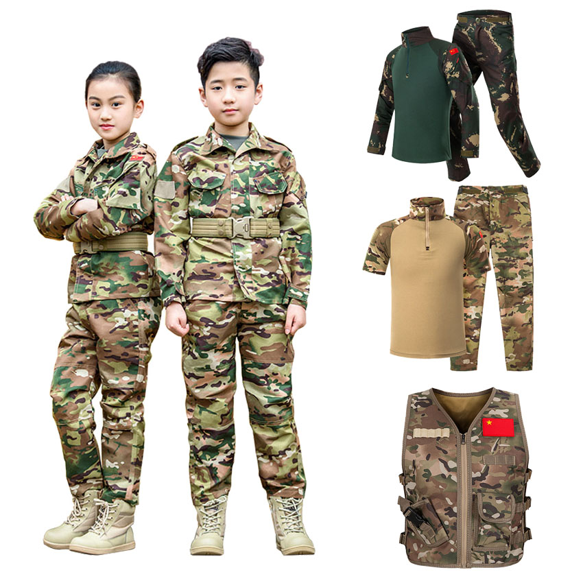 WW2 Teenager Boys Military Uniform Tactical Combat Jacket Pants Set Camouflage CP Jungle Print 2PCs Kids Special SWAT Army Suit