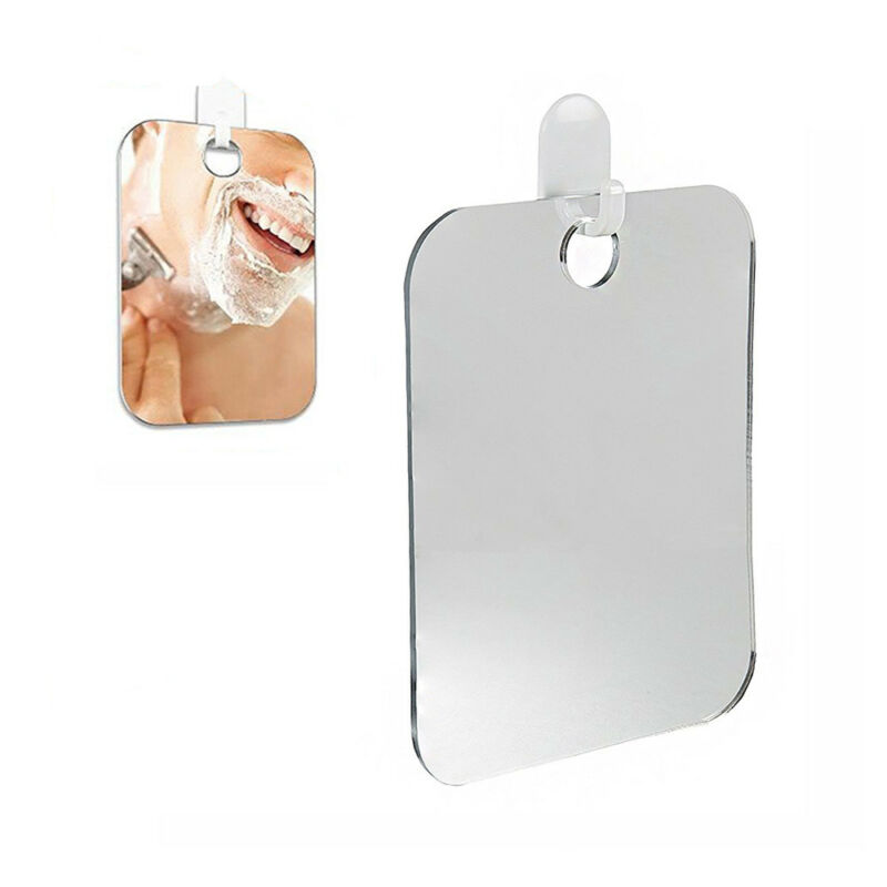Shaving Cosmetic Shower Mirror Bathroom Anti-Fog Wall Mounted Suction Cup Hook Mini Square Mirror Protable Travel Acrylic