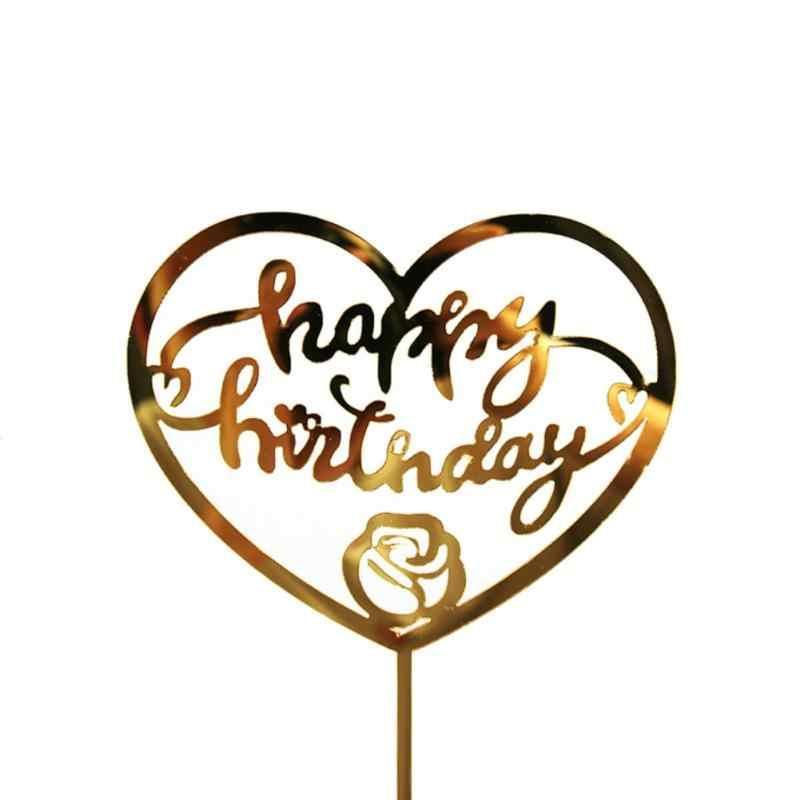 Goldene Silbrig Glücklich Geburtstag Kuchen-Topper Acryl Stanzen Party Dekoration Geburtstag Party Hochzeit Liefert Heißer Verkauf