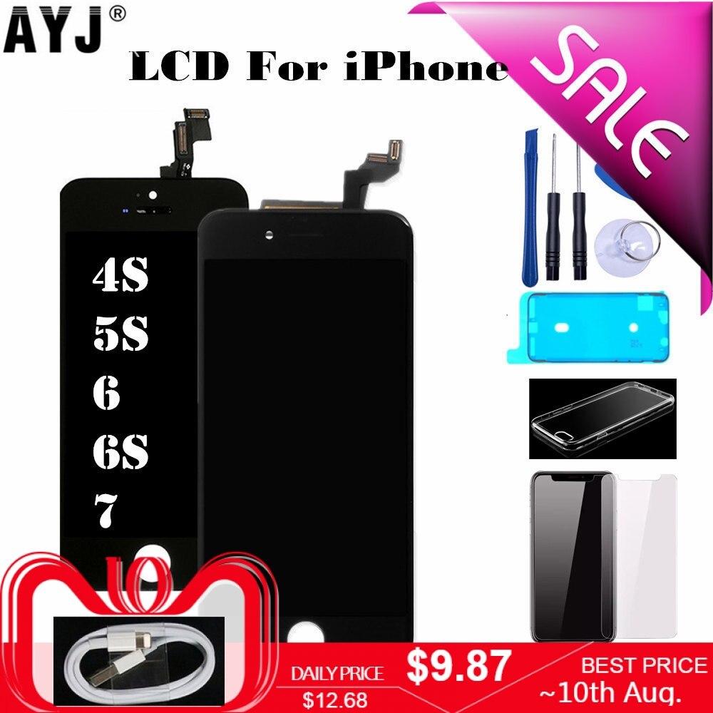 Exibir Para o iphone 5S SE 6 7 4S 6S LCD Touch Screen Digitador Assembléia Substituição Nenhum Pixel Morto Não pó Branco Quente Back light