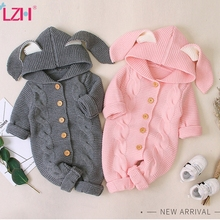 Autumn Newborn Baby Clothes Cardigan Hooded Baby Rompers Baby Girl Boy Clothes Fashion Infant Costume Kids Toddler Knit Jumpsuit