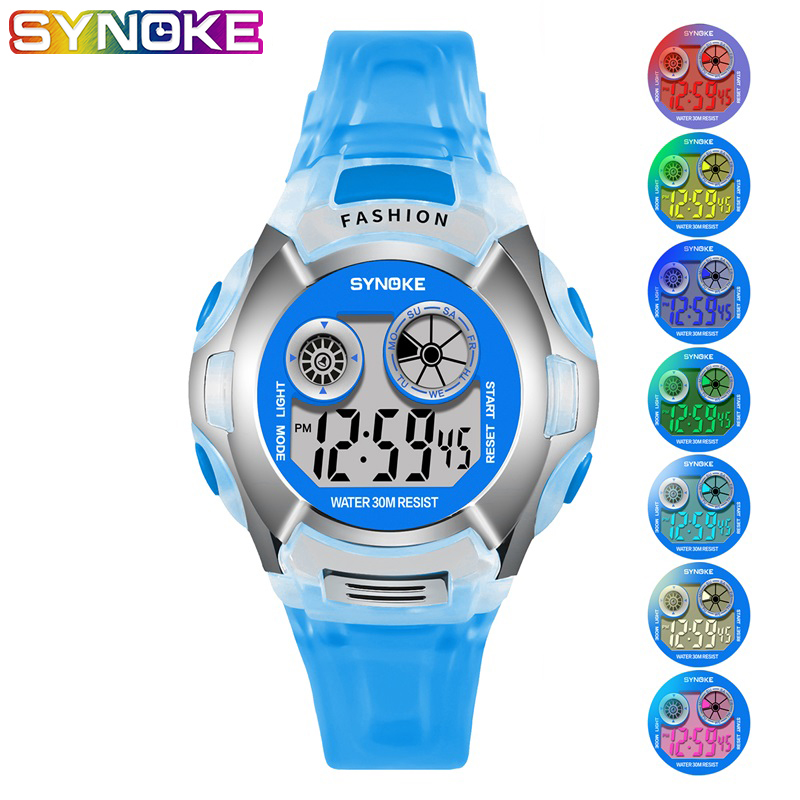 Christmas Kid Watches Sport Digital Fitness Colorful Light Fashion Back Light Shock Resistant LED Display Chronograph Wristwatch