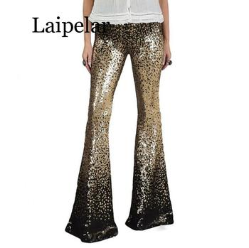 2020 Black Gold Gradient Women High Waist Sequin Long Pants Glitter Sequin Flared Trousers Female Dance Flared Pant Bottoms black floral print flared long pants