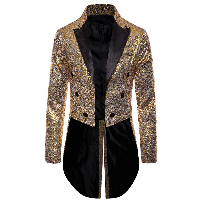 2020 Men Gold Silver Red Blue Black Sequin Slim Fit Tailcoat Stage  Prom Dresses Costume Wedding Groom Suit Jacket