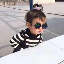 Новые корейские детские цветные солнцезащитные очки круглые светоотражающие очки детские UV400