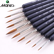 Marie's 10Pcs Different Size Weasel Hair Hook Line Watercolor Brush Pen Set Fine Stroke Tip Paint Artist Oil Acrylic