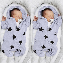 MUQGEW Autumn Winter Romper For Infant Kid Baby Girls Boys Newborn Stars Print Romper Hooded Zipper Jumpsuit Outfits baby kleren