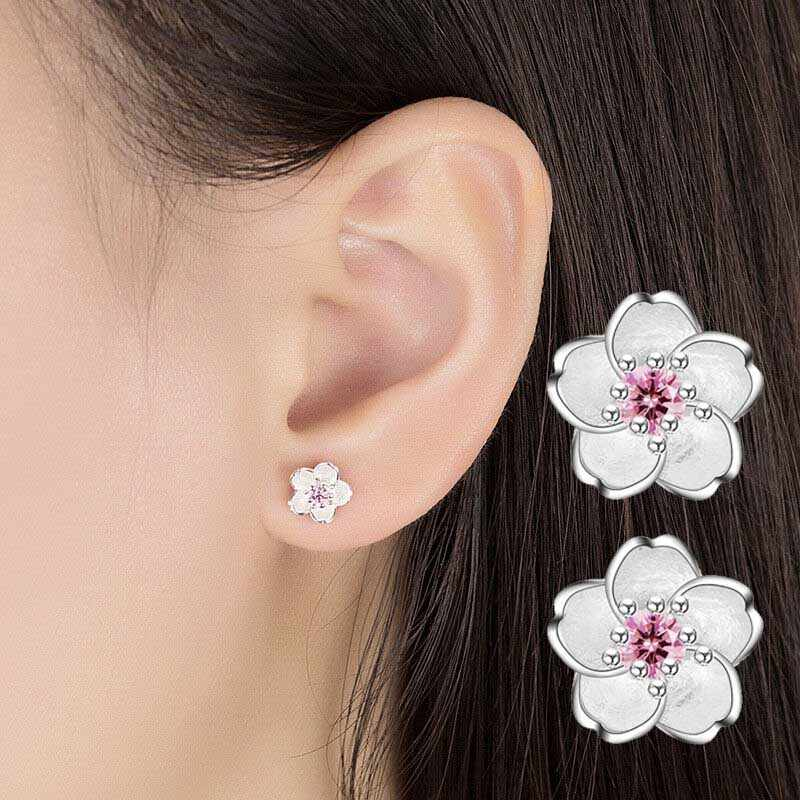 Fashion Silver Color Flower Stud Earrings For Women Cherry Blossom Ear Stud Romantic Valentine's Day Party Jewelry DIY Gift