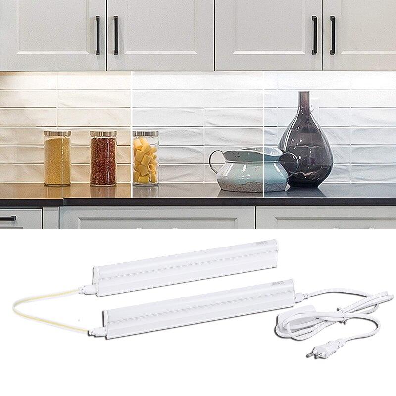 Juego completo de luces de Cocina Led para debajo del armario, lámpara de armario roperos, barra de tubos de 220V, 110V, 30/50/60cm para iluminación del hogar y el baño