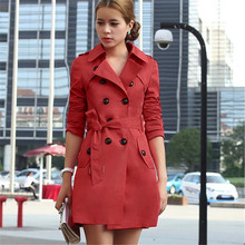 Women Slim Belt Trench Coat Long Sleeve Epaulet Outwear