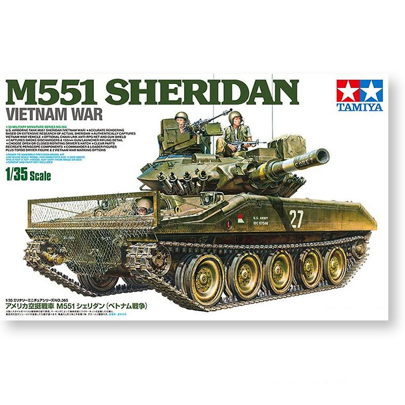 Tamiya 35365 1/35 Scale M551 Sheridan Vietnam 35365 Light Tank Display Collectible Toy Plastic Assembly Building Model Kit