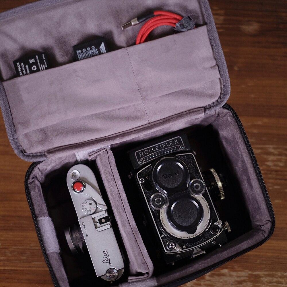 Cam-in LCB-007 caméra sac imperméable en cuir de vache matériel adapté pour voyage d'affaires électronique boîte de rangement 26x17x12cm