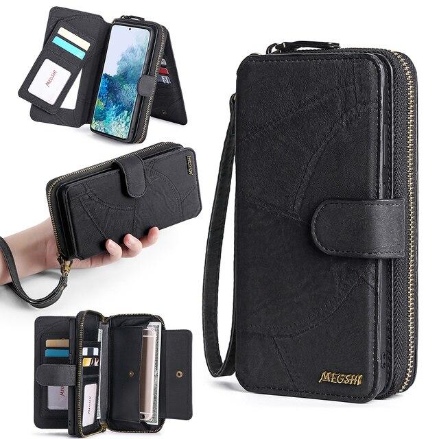 Megshi multifuncional caso de telefone couro para huawei p20 p30 p40 mate20 mate30 caso zíper bolsa coque