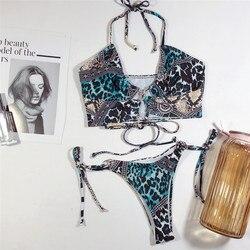 Stroje kąpielowe w stylu Vintage z nadrukiem stroje kąpielowe w stylu Vintage stroje kąpielowe w stylu Vintage stroje kąpielowe w stylu brazylijskim Bikini usztywniane Monokini stringi Bikini 2