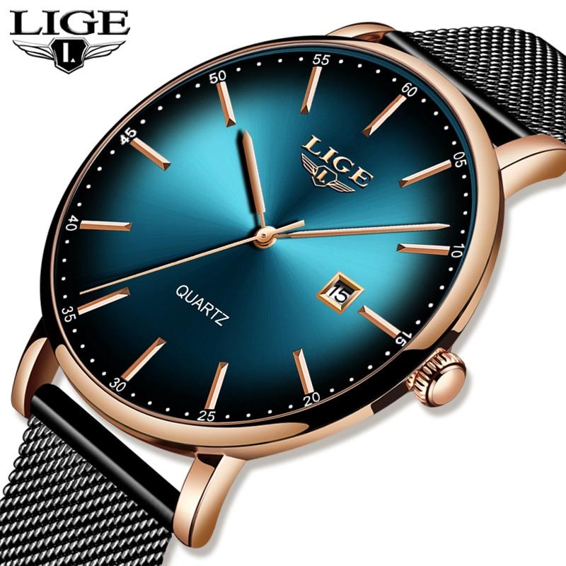 LIGE 2020 New Women Watch Top Brand Luxury Ladies Mesh Belt Ultra-thin Watch Stainless Steel Waterproof Quartz Watch Reloj Mujer