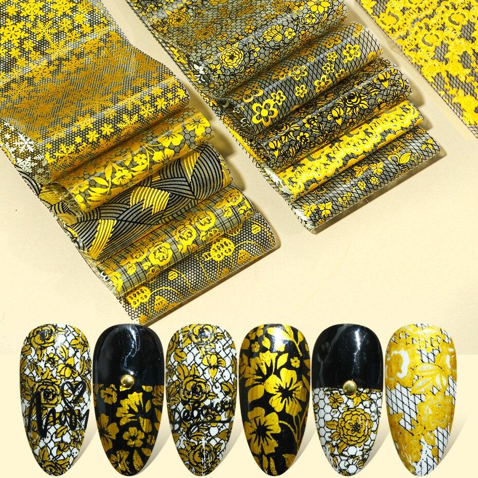 10 adet altın tırnak çıkartmalar folyo çiçekler geometrik çizgi desen altın Nail Art süslemeleri tasarımlar akrilik manikür sarar TR1554