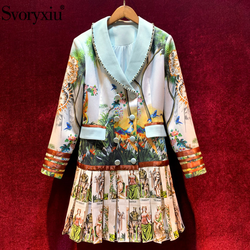 Svoryxiu Luxury Runway Winter Vintage Warrior Print Pleated Trench Coat Women's Long Sleeve Diamond Double Breasted Outwear