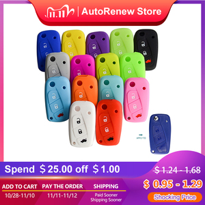 Image 1 - OkeyTech New Styling Colorful Silicone Key Cover for Fiat 500  Panda Stilo Punto Doblo Grande BravoDucato Folding Car Key Shell