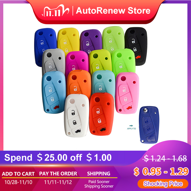 OkeyTech New Styling Colorful Silicone Key Cover for Fiat 500  Panda Stilo Punto Doblo Grande BravoDucato Folding Car Key Shell