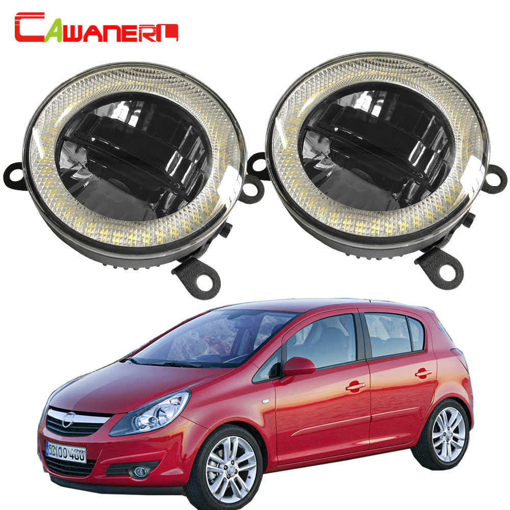 Cawanerl For Opel Corsa D Hatchback 2007-2015 Car LED Fog Light DRL Daytime Running Lamp Angel Eye Bulb 12V Accessories 2 Pieces